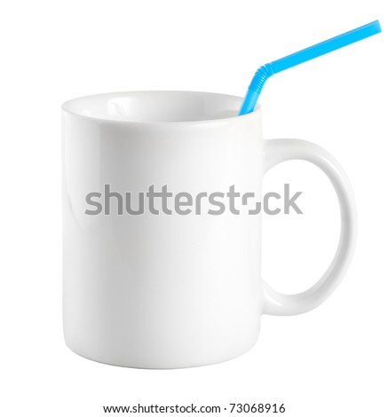 White cup with a drinking straw isolated on a white background (Path)