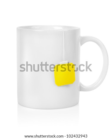White cup with a teabag