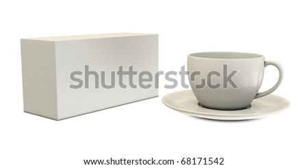 White cup with blank box isolated on white background
