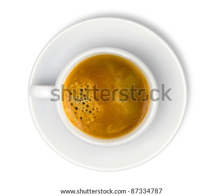 white cup with espresso coffee isolated on white - stock photo