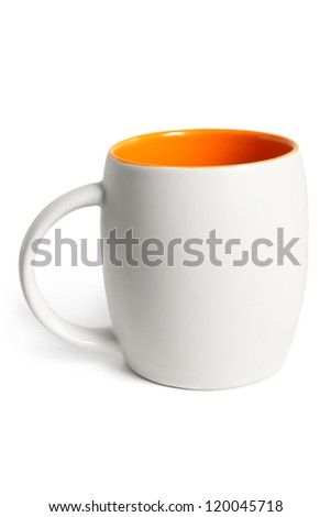 White cup with orange inside on a white background