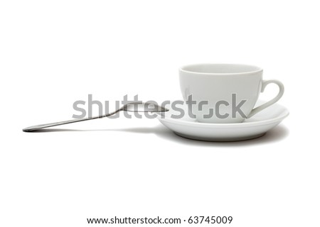 white cup with spoon and saucer isolated on white background