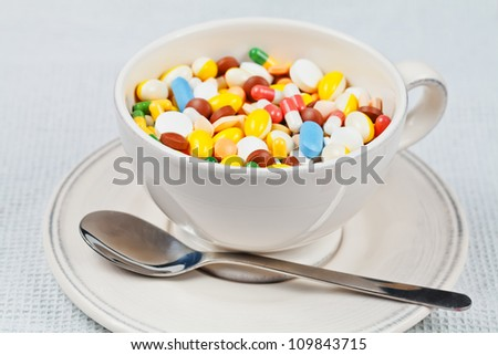 White cup with spoon on the plate filled with white, red, green, brown, blue and yellow medicine pills and capsules served as breakfast