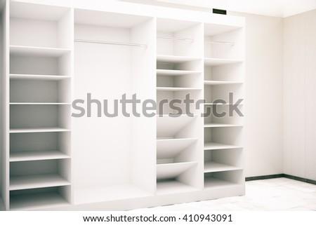 White cupboard in cocnrete interior. 3D Rendering #410943091