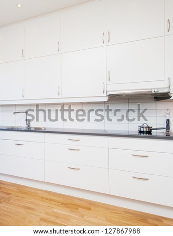 white cupboards, kitchen interior