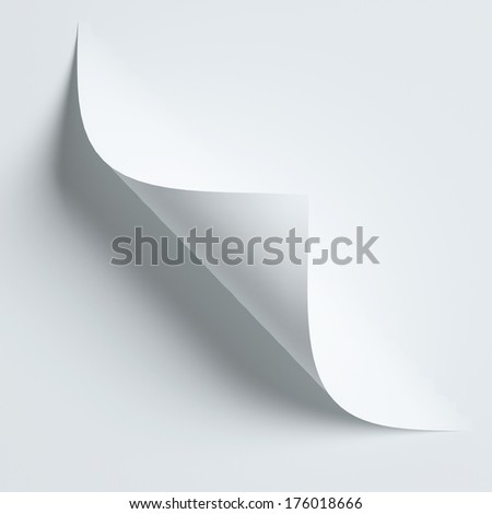 White curled paper corner isolated on white with soft shadows