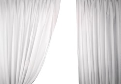 White curtain with sunlight on a white background