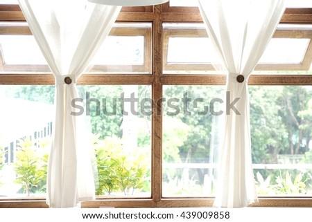 White Curtain Wood Window Frame High key Background #439009858