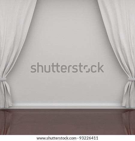 white curtains on the wall