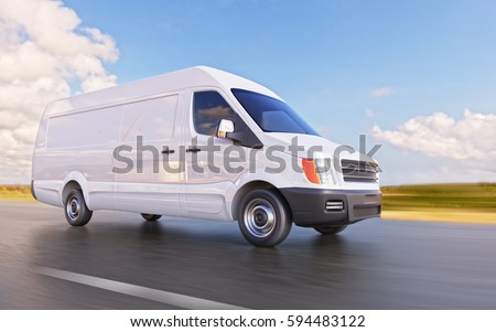 White Custom Designed Unrecognizable Commercial Van on the Road Motion Blurred 3d Illustration