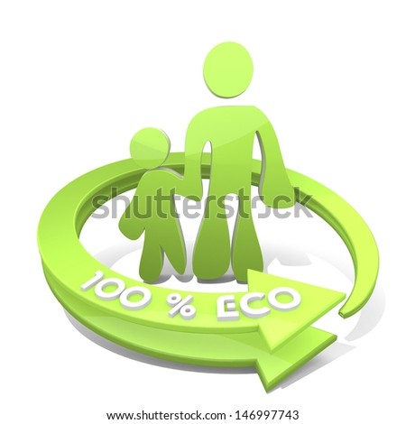 White  cute family 3d graphic with eco father and son sign  a 100 percent eco
