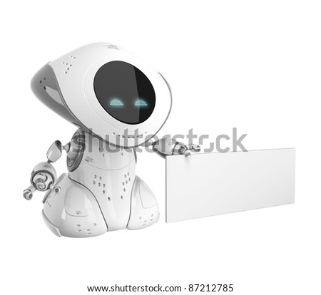 White cute robot with empty board