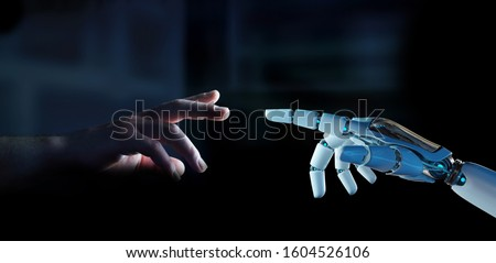 White cyborg finger about to touch human finger on dark background 3D rendering Сток-фото ©