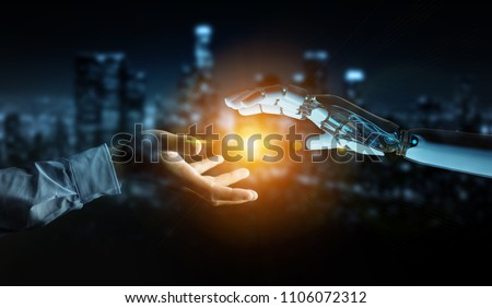 White cyborg hand about to touch human hand on dark city background 3D rendering