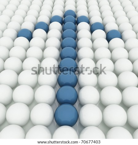 White 3D balls with blue ones forming an arrow