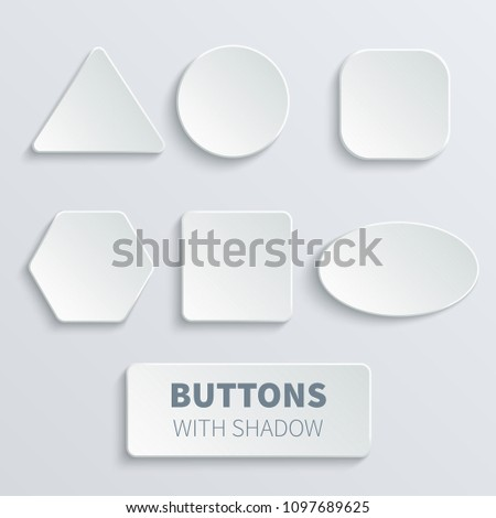 White 3d blank square and rounded button set. Button banner round, badge interface for application illustration #1097689625