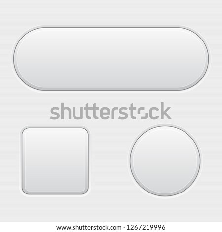 White 3d buttons. Blank set of matted buttons. Illustration. Raster version #1267219996