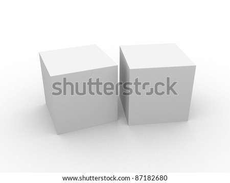 white 3d cube isolated over white. 3d illustration