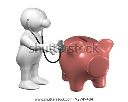 White 3D man examining a piggy bank with a stethoscope