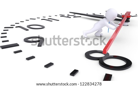 White 3d man pushing second hand watches. Isolated render on a white background
