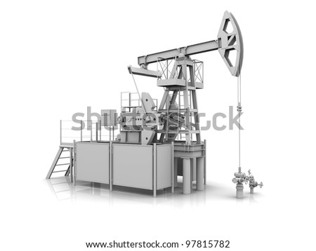 White 3D model of the oil pump-jack - stock photo