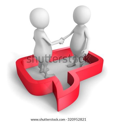 White 3d People Hand Shake In Speech Bubble. 3d Render Illustration