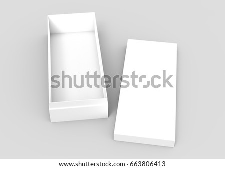 white 3d rendering blank open rectangular box with separated box lid, isolated gray background, top view stock photo