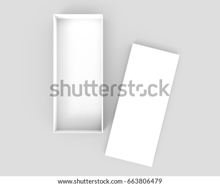 white 3d rendering blank open rectangular box with separated box lid, isolated gray background, top view