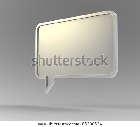 White 3d speech bubble floating in air on a grey background