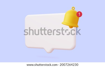 White 3d speech bubble with a bell about the notification of a call and sms. 3d rendering.