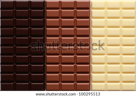 White, dark and milk chocolate side by side