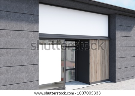 White, dark wooden and dark gray stone cafe facade with a vertical poster and a glass door. A side view. 3d rendering mock up #1007005333
