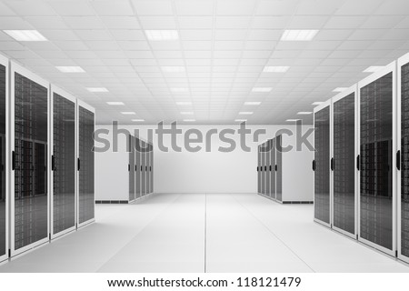 White Data centre with two rows of racks