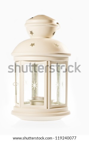 White decorative lantern in the old style.