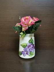 white decoupage vase with flowers, beautiful handmade DIY decoupage flower vase on wooden background