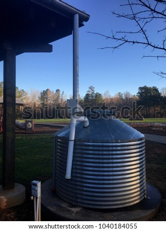 White Deer Park in Garner, North Carolina using large rain collectors to catch and conserve water. Good stewards for the environment. Raleigh, Triangle, Wake County #1040184055