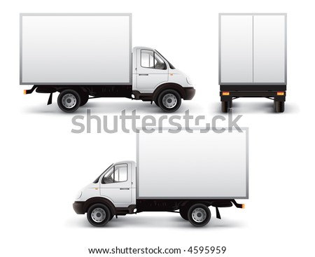 White delivery car isolated with vector clipping path included
