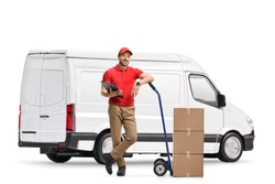 White delivery van and a male worker with boxes and a hand truck isolated on white background