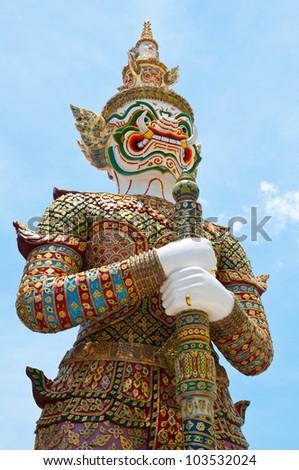 White Demon Guardian at Wat Phra Kaew, Temple of the Emerald Buddha, Bangkok, Thailand.