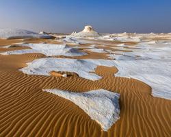 White desert in Egypt, Farafra, wind eroded rock formations at sunset/