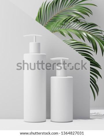 White design natural cosmetic cream , serum, skincare blank bottle packaging with leaves herb, bio organic product.beauty and spa concept. 3d illustartion