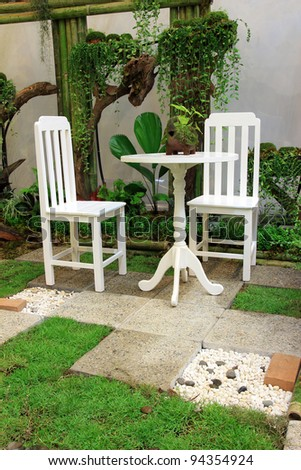White Desk and chair in the garden