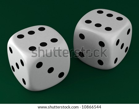 white dice on green cloth background - stock photo