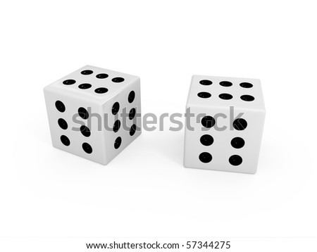 White dice with six dots on each side
