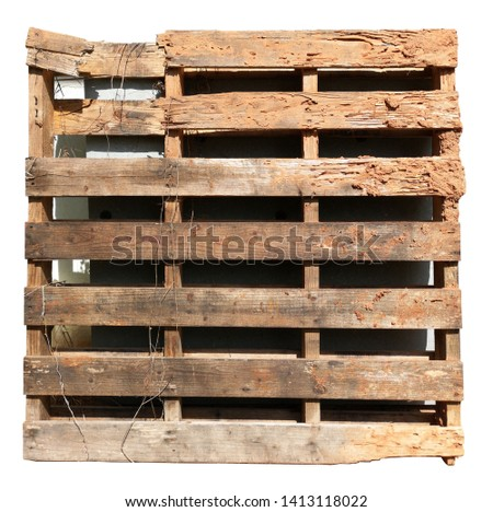 White Die Cut Photo Decayed wood battens because of termites eaten and left behind. Being scorched by rain and sun