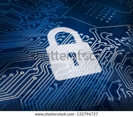 White digital padlock over circuit board ground