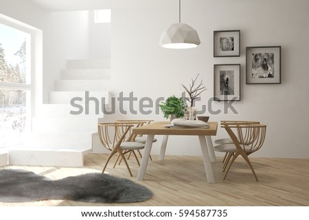 White dinner room with winter landscape in window. Scandinavian interior design. 3D illustration