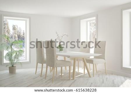 White dinner room with winter landscape in window. Scandinavian interior design. 3D illustration #615638228