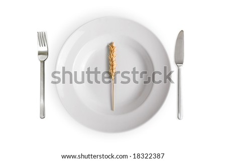 white dish with wheat  isolated on white background