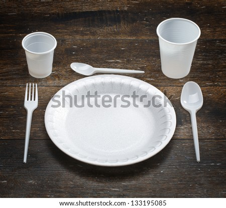 white disposable dishware set in a dark wood
